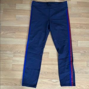 J Crew Navy Leggings w/ Blue and Red Stripe